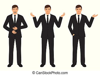 man character expressions with hands gesture, cartoon businessman wit different emotion