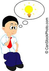 Having An Idea - Vector Illustration of A Man Having An Idea