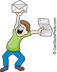 man is happy about good news - vector illustration of a man ...