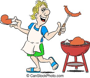 man with apron grilling meat and sausages - vector ...
