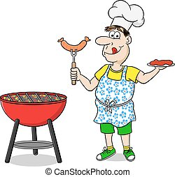 man with apron grilling steak and sausages - vector ...