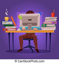 Vector illustration of a man working on the computer