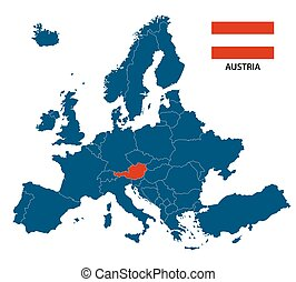 Vector illustration of a map of Europe with highlighted Austria and Austrian flag isolated on a white background