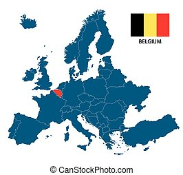 Vector illustration of a map of Europe with highlighted Belgium and Belgian flag isolated on a white background