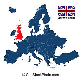 Vector illustration of a map of Europe with highlighted Great Britain and British flag isolated on a white background