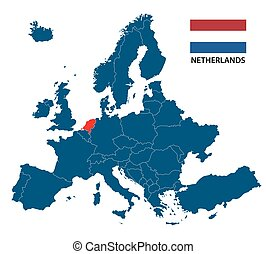 Vector illustration of a map of Europe with highlighted Netherlands and Dutch flag isolated on a white background