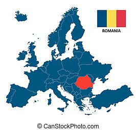 Vector illustration of a map of Europe with highlighted Romania and Romanian flag isolated on a white background