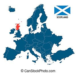Vector illustration of a map of Europe with highlighted Scotland and Scottish flag isolated on a white background