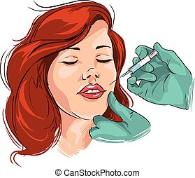 Vector illustration of a medical facial wrinkle treatment