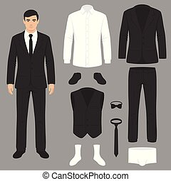 men fashion, suit uniform, jacket, pants, shirt and shoes isolated