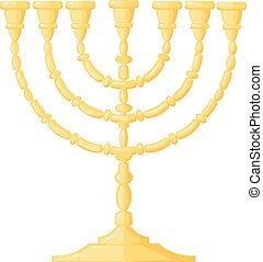 Vector illustration of a menorah on a white background. Cartoon image of the Jewish menorah.