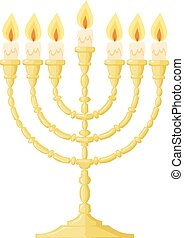 Vector illustration of a menorah with candles on a white background. Cartoon image of the