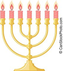 Vector illustration of a menorah with red candles on a white...