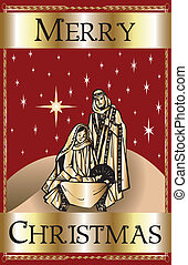 Merry Christmas Red Nativity - Vector Illustration of a...