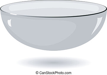 Vector illustration of a metal bowl on a white background
