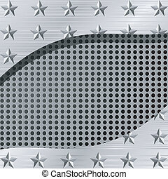 Vector illustration of a metal plate with holes and stars
