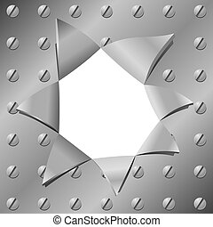 Vector illustration of a metal plate with a hole