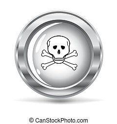metallic button with a hazard sign - vector illustration of ...