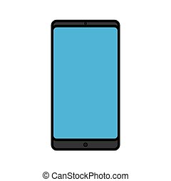Vector illustration of a modern digital digital smart rectangular smartphone mobile phone icon with isolated on white background. Concept: computer digital technologies