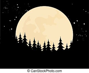 Vector illustration of a modern nature with the moon