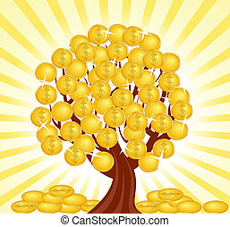 money tree - vector illustration of a money tree with coins.