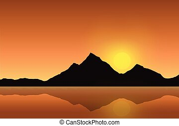 Vector illustration of a mountain landscape reflected in the sea surface under an orange sky with the rising sun