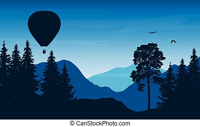 Vector illustration of a mountain landscape with a flying hot air balloon with people in a basket and birds