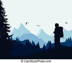 Vector illustration of a mountain landscape with a forest and flying birds and a tourist