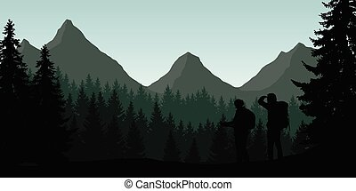 Vector illustration of a mountain landscape with a forest and two tourists looking for a path