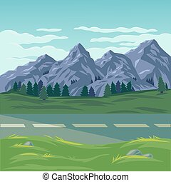 Vector illustration of a mountain landscape with coniferous...