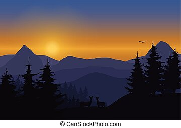 Vector illustration of a mountain landscape with deer in a...