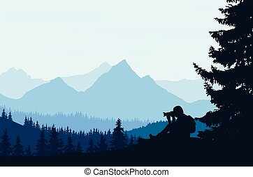 Vector illustration of a mountain landscape with trees and a human being photographed under a blue-gray sky with cloud