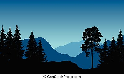 Vector illustration of a mountain landscape with trees under a blue winter sky