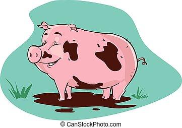 vector illustration of a muddy pig