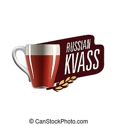 Vector illustration of a mug with Russian kvass. Isolated on white background