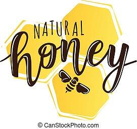 Vector illustration of a 'natural honey' lettering