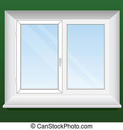 Vector illustration of a new pvc window with one opening leaf.