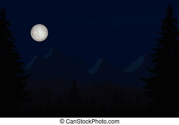Vector illustration of a night mountain landscape with a forest and moon full moon under sky with clouds