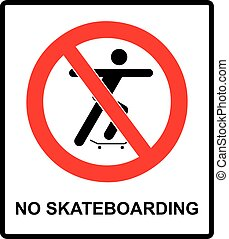 vector illustration of a no skateboarding allowed sign with ...