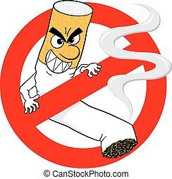 no smoking sign with cartoon cigarette
