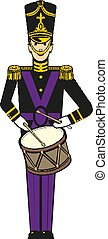 Vector illustration of a nutcracker toy soldier with a drum