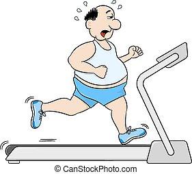 overweight man jogging on a treadmill - vector illustration ...