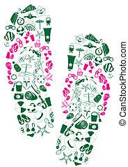 a pair of flip-flops - Vector illustration of a pair of flip...