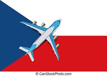 Vector Illustration of a passenger plane flying over the Czech flag.