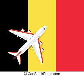 Vector Illustration of a passenger plane flying over the flag of Belgium.
