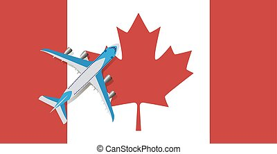 Vector Illustration of a passenger plane flying over the flag of Canada.
