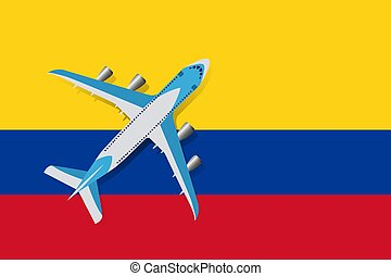 Vector Illustration of a passenger plane flying over the flag of Colombia.