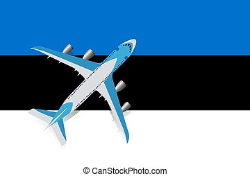 Vector Illustration of a passenger plane flying over the flag of Estonia.