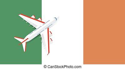 Vector Illustration of a passenger plane flying over the flag of Ireland.