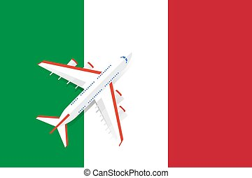 Vector Illustration of a passenger plane flying over the flag of Italy.